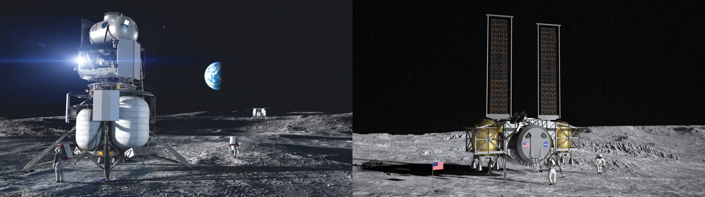 Left: The Blue Origin ILV, Right: The Dynetics Human Landing System. Source: https://www.nasa.gov/feature/nasa-selects-blue-origin-dynetics-spacex-for-artemis-human-landers