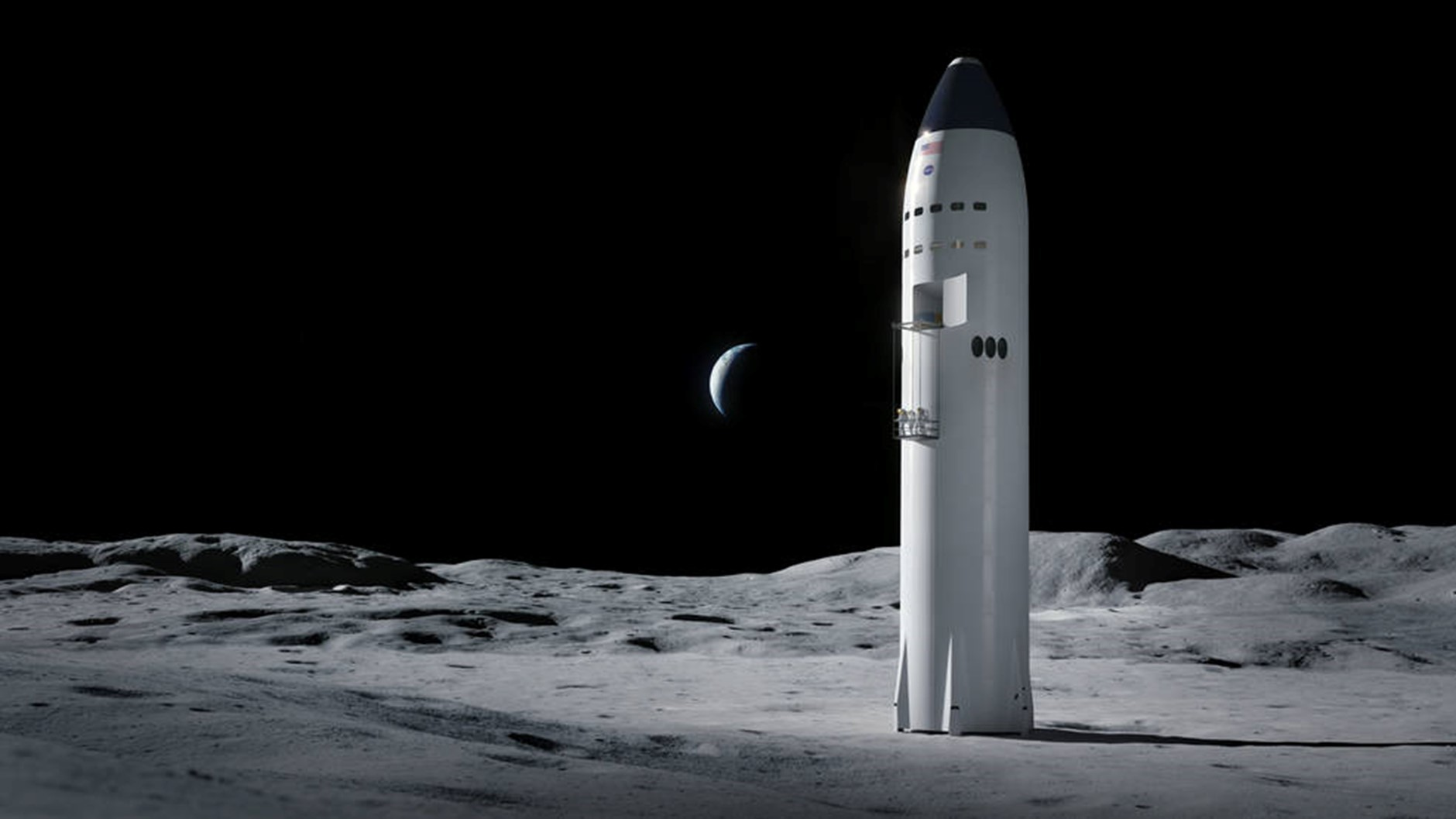 A Starship on the Moon. Source: https://www.nasa.gov/feature/nasa-selects-blue-origin-dynetics-spacex-for-artemis-human-landers