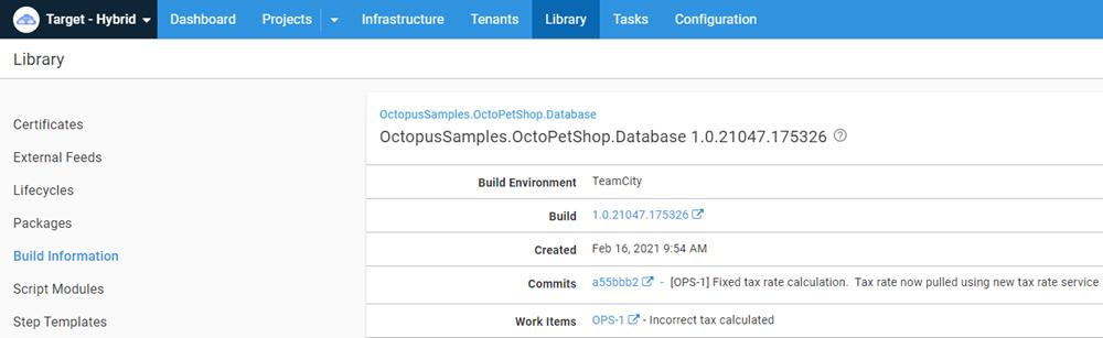 OctoPetShop build information