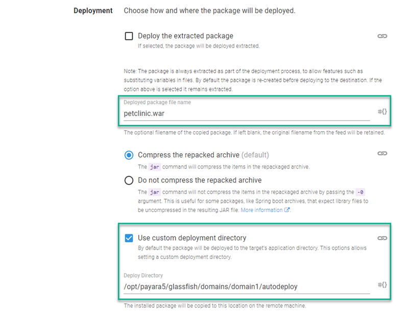 The deploy section of the step template
