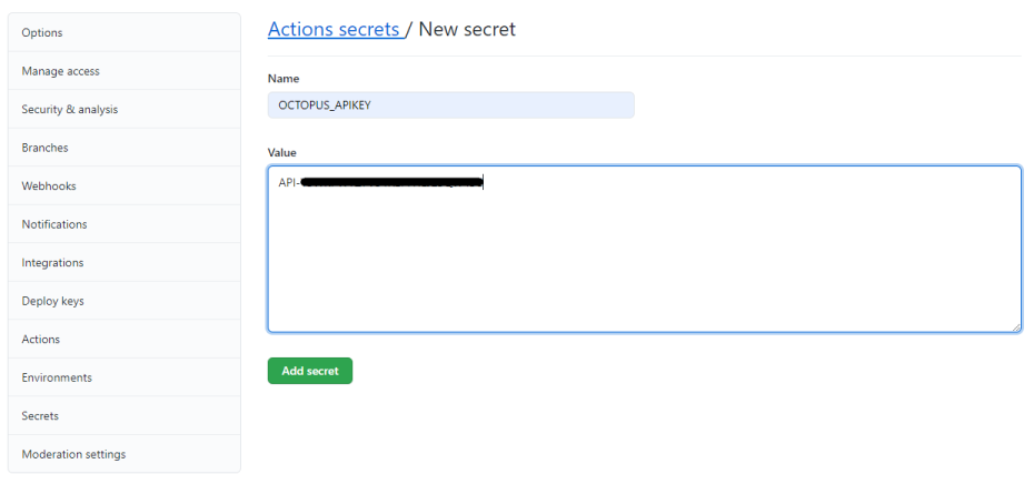 Encrypted Secret in GitHub repository screenshot