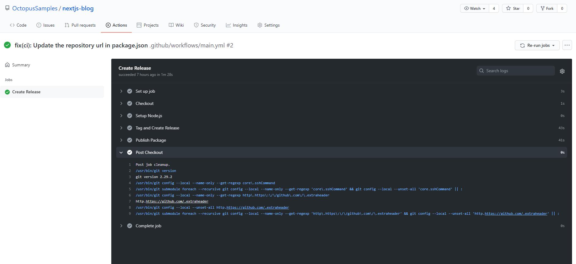 GitHub Action screenshot