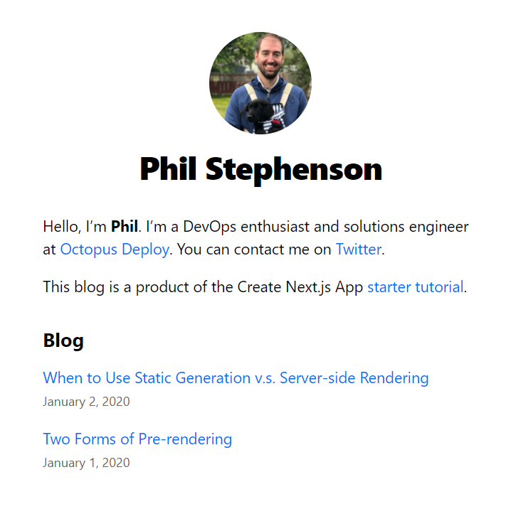 Next.js blog screenshot