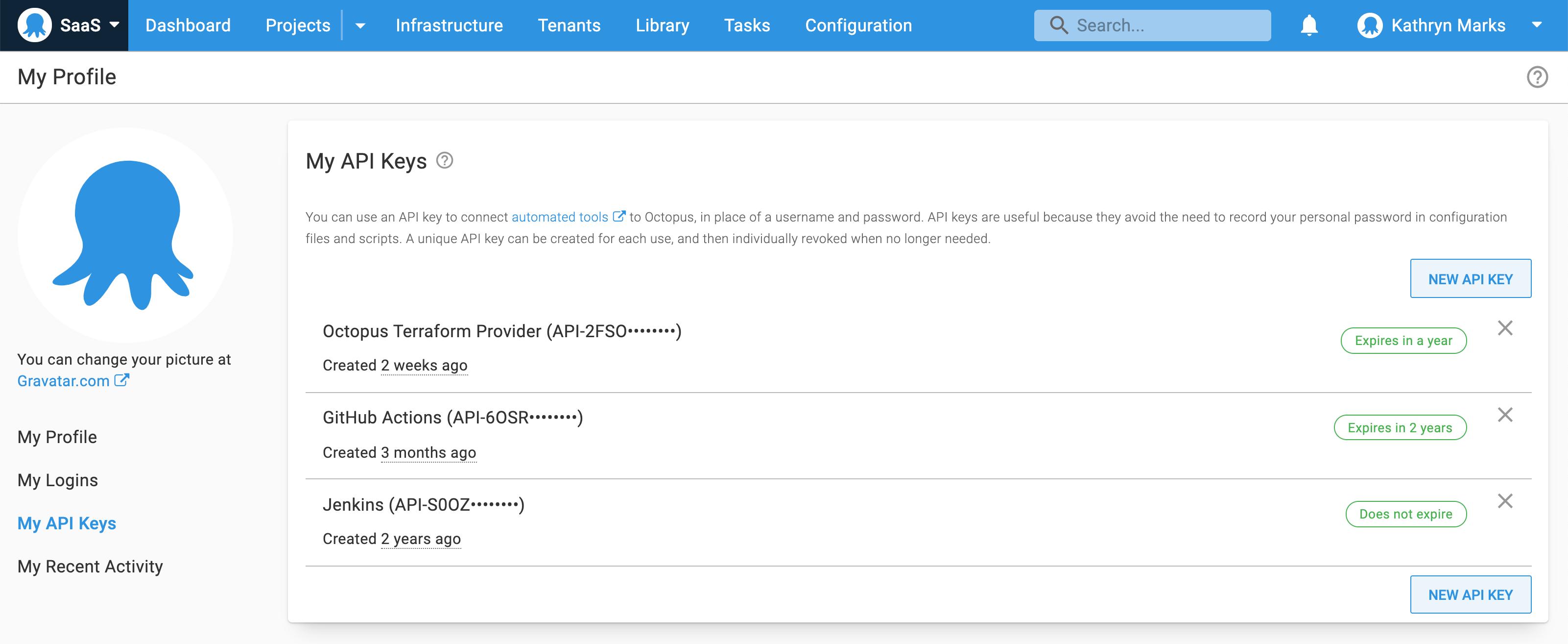 Octopus User Profile API Keys