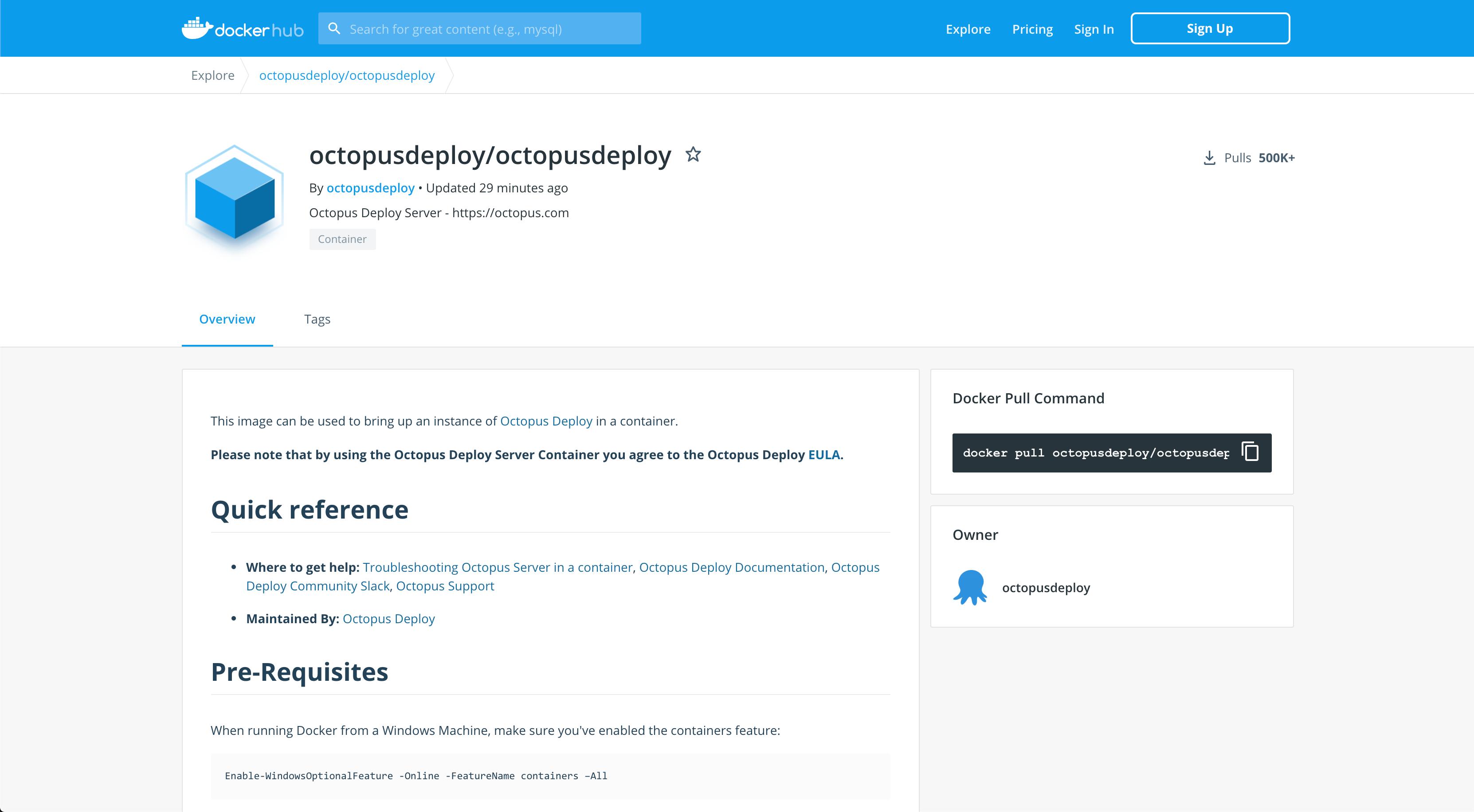Octopus Server Linux Docker image