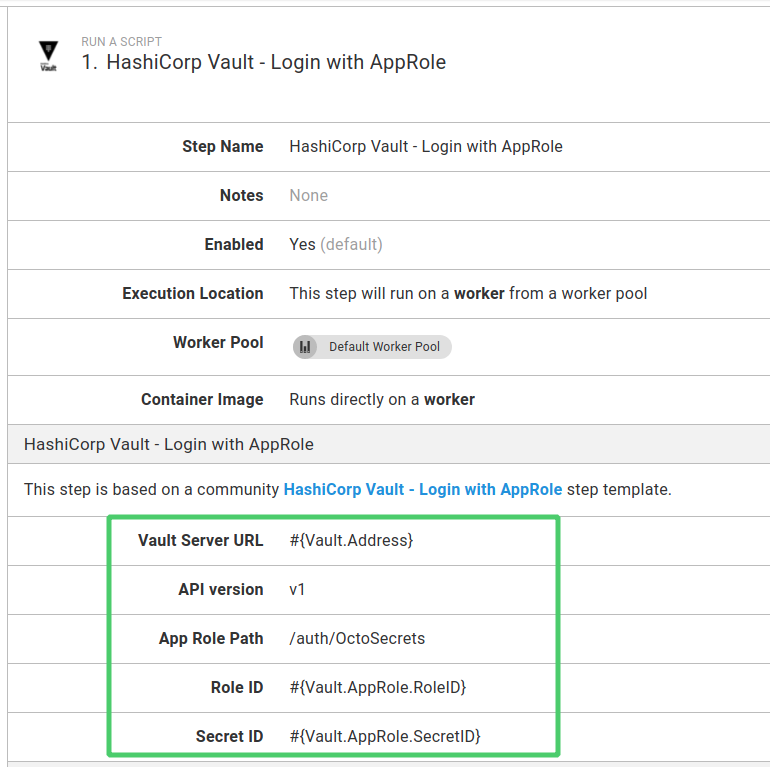 Vault AppRole login step used in a process