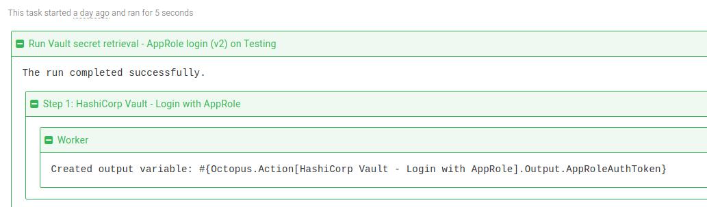 Vault AppRole login step task log