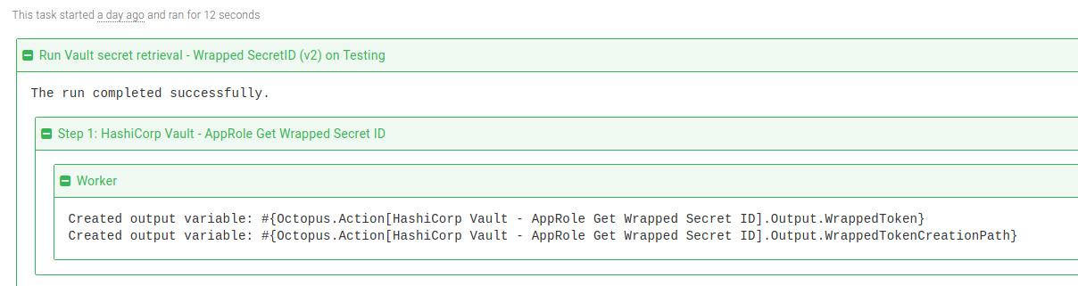 Vault Get Wrapped SecretID step task log