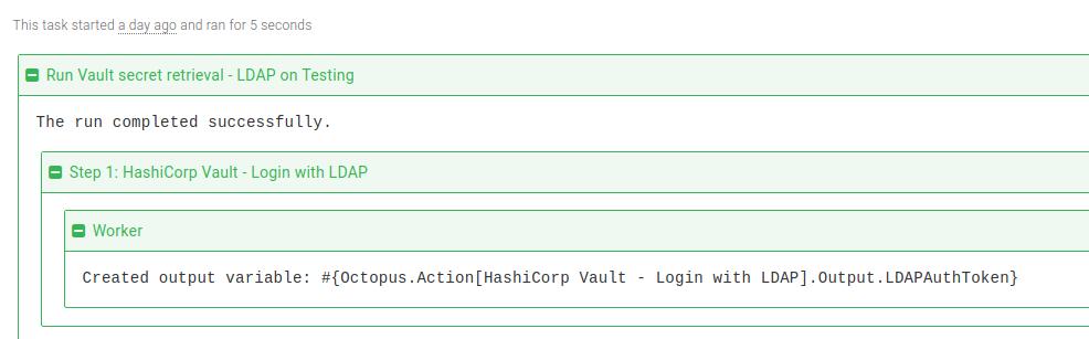 Vault LDAP login step task log