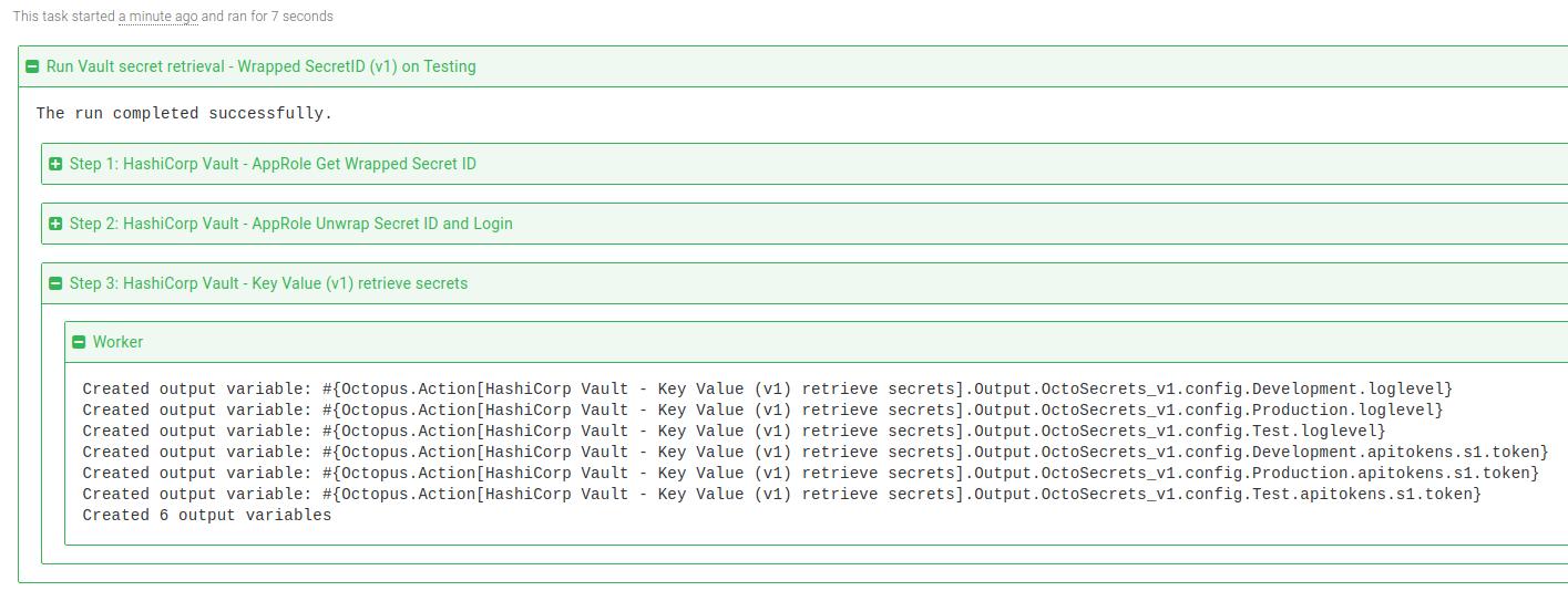 Vault retrieve KV v1 secrets step task log