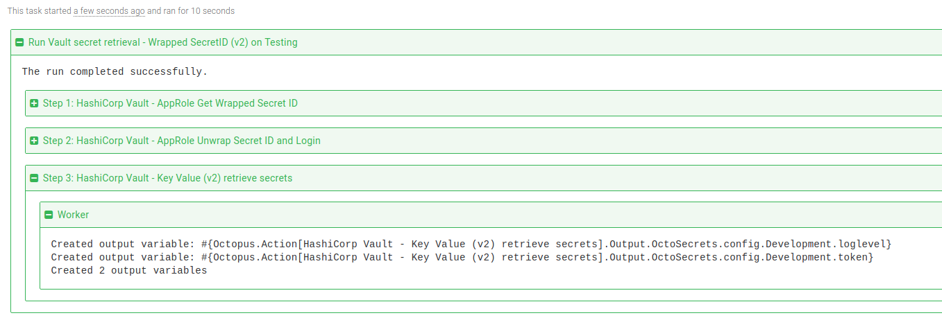 Vault retrieve KV v2 secrets step task log