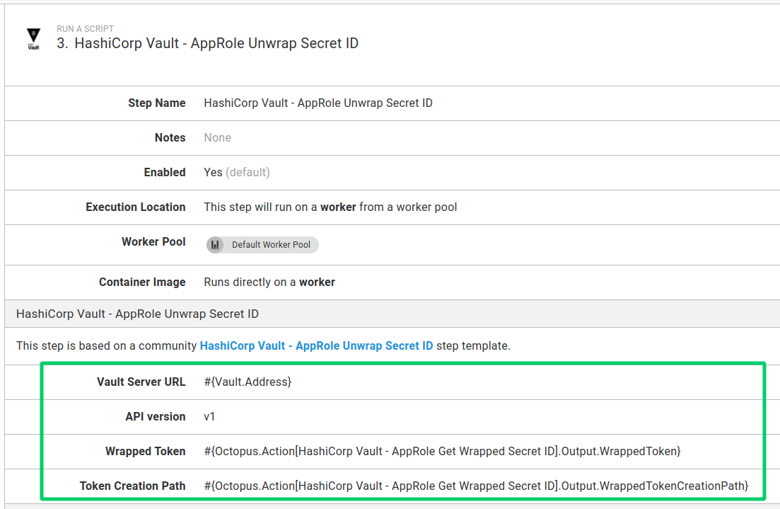 Vault Unwrap SecretID step used in a process