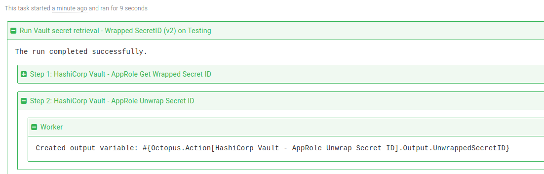 Vault Unwrap SecretID step task log