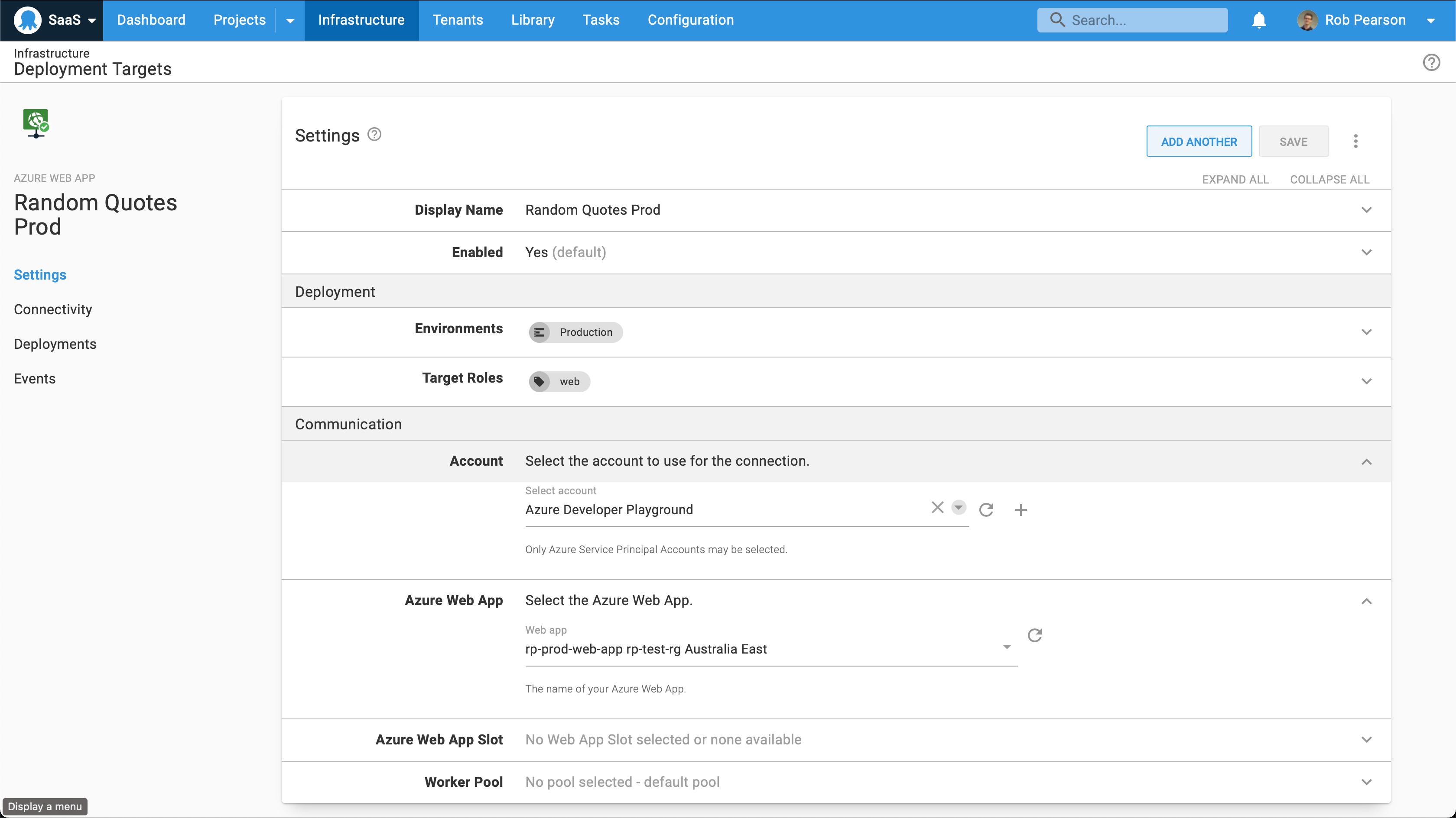 Azure web app deployment targets