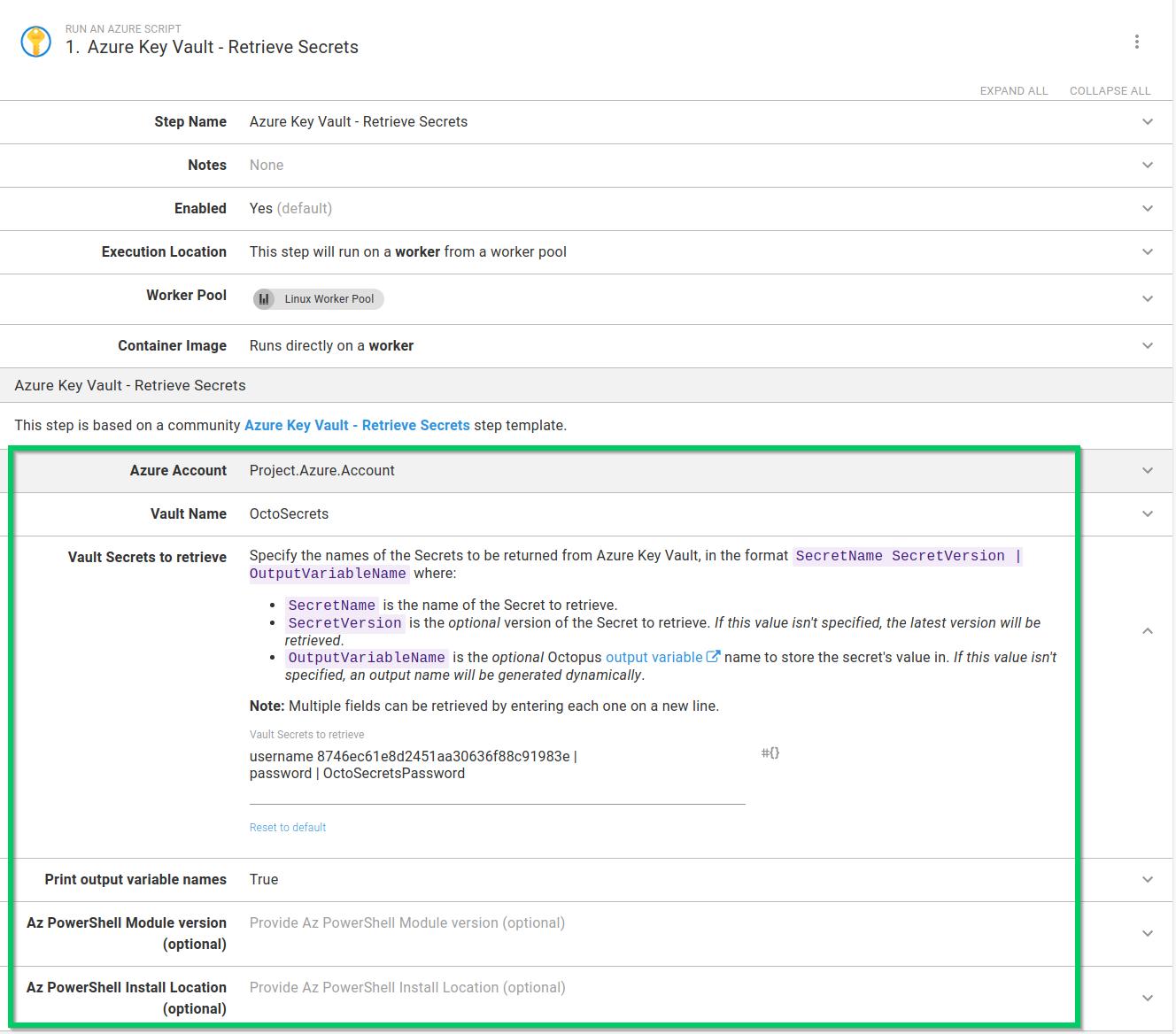 Azure Key Vault retrieve secrets step used in a process