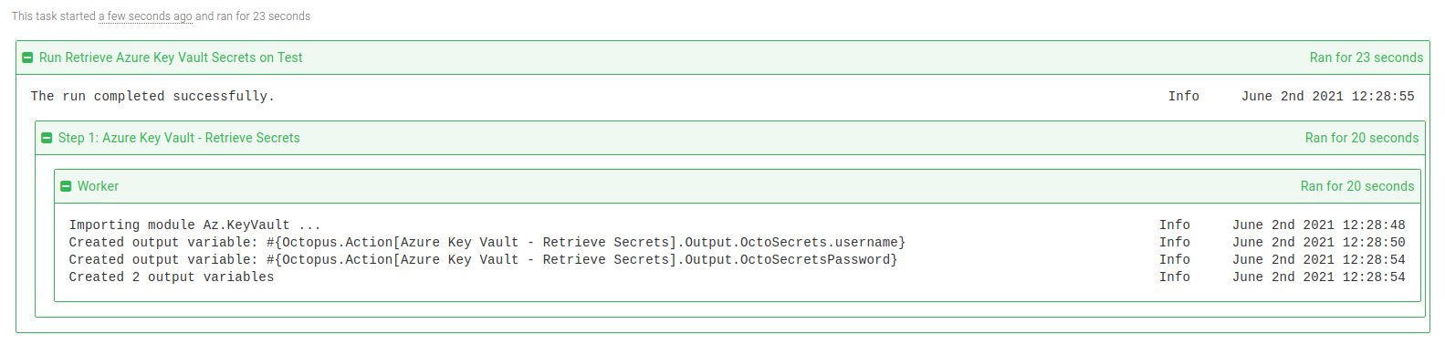 Azure Key Vault retrieve secrets step task log