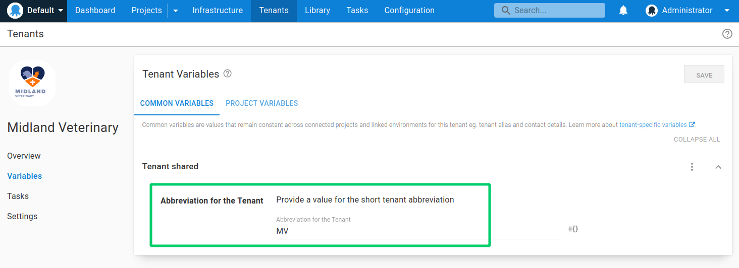 Common variable tenant value