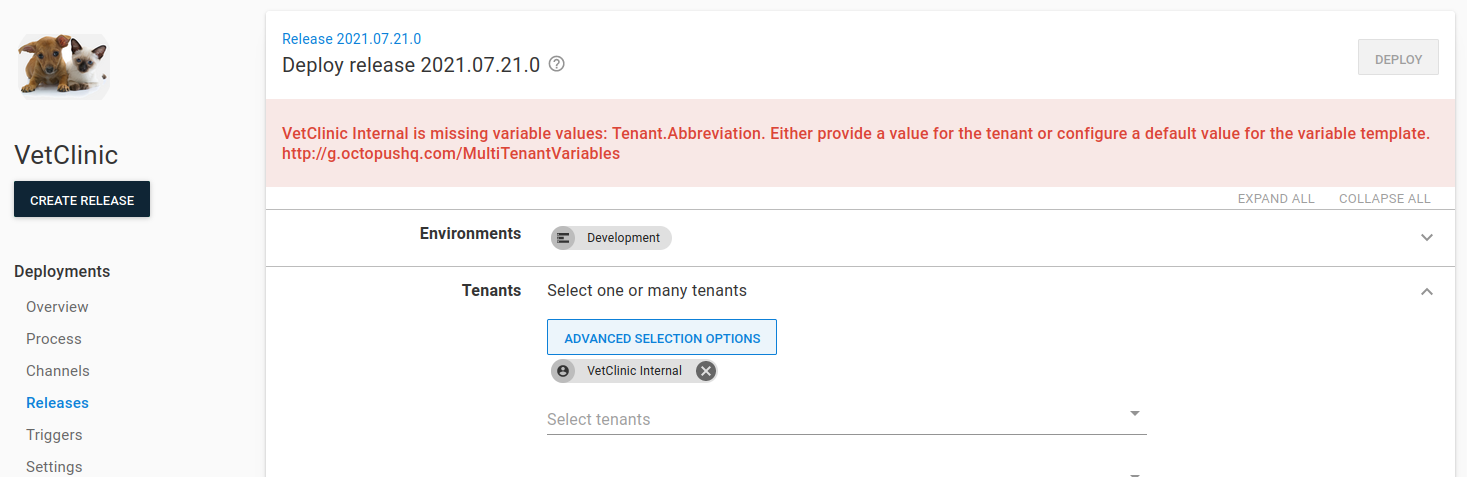 Missing tenant variable