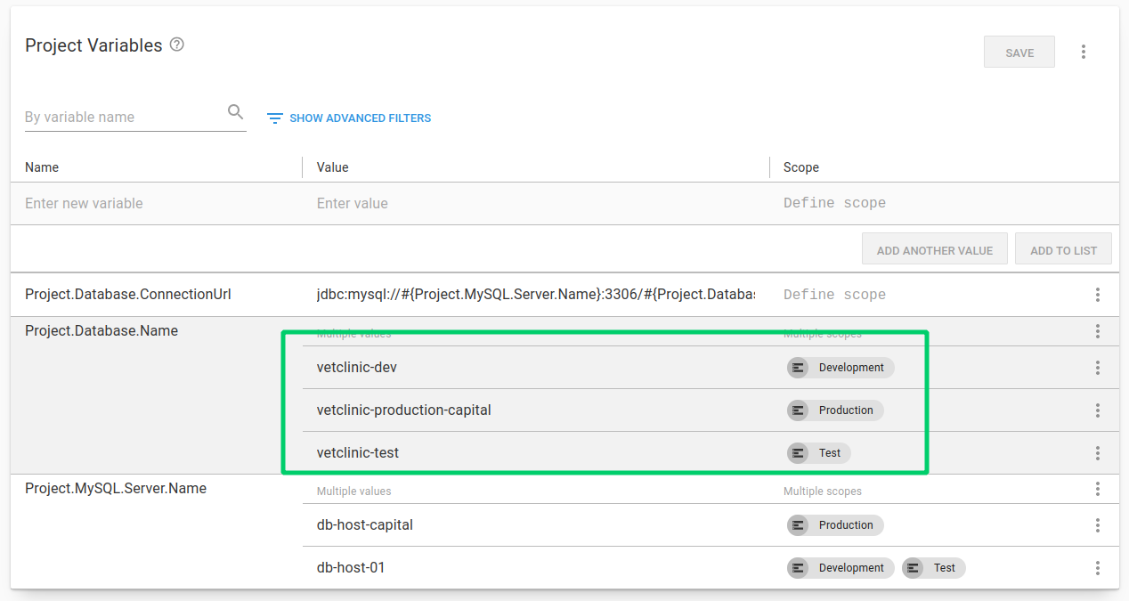 Multi-tenancy multiple projects variable scoping