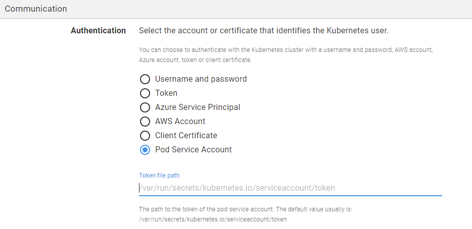 Pod Service Account authentication