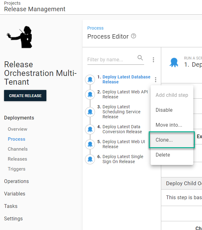 Release management clone steps