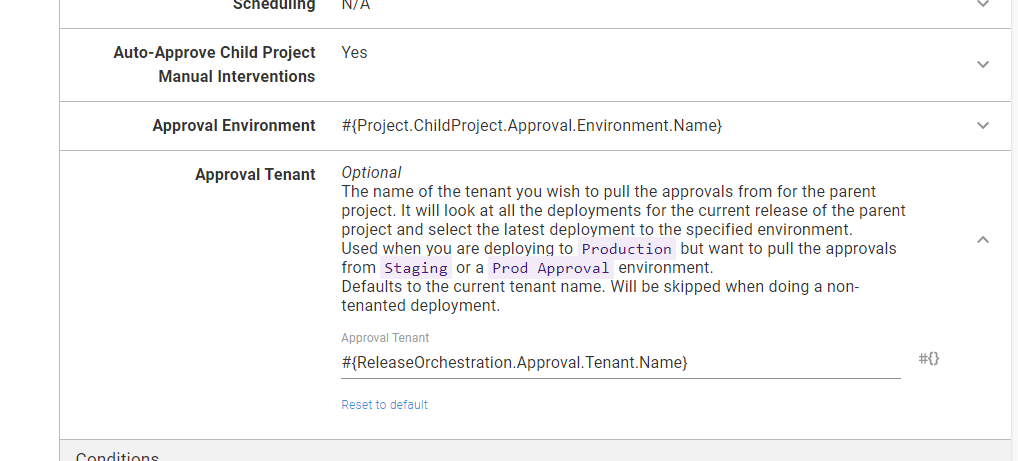 Setting the approval tenant in the steps
