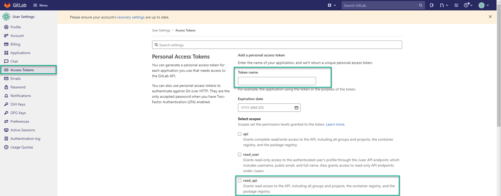 GitLab dashboard open on Access Tokens page with Token name field and read_api fields highlighted.