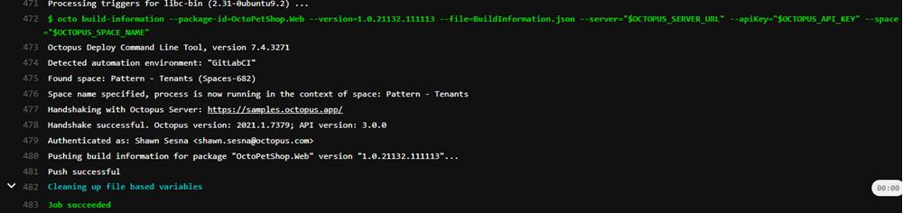 GitLab build information log