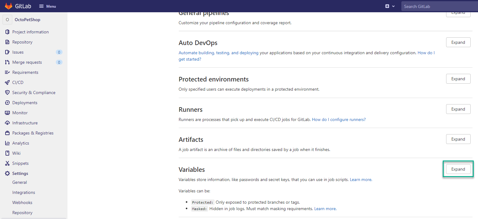 GitLab dashboard open with the Expand button highlighted in the Variables section.