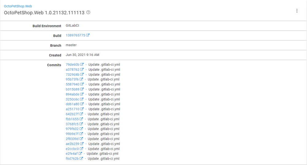 Octopus Build Information Repository dashboard showing build information for OctoPetShop.Web with list of commits.