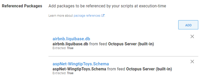 Octopus dashboard showing Referenced Packages