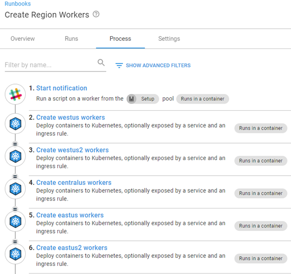 Octopus dashboard open on Runbooks section then Create Region Workers showing steps 1 to 6 of process creating workers in specific Azure regions.
