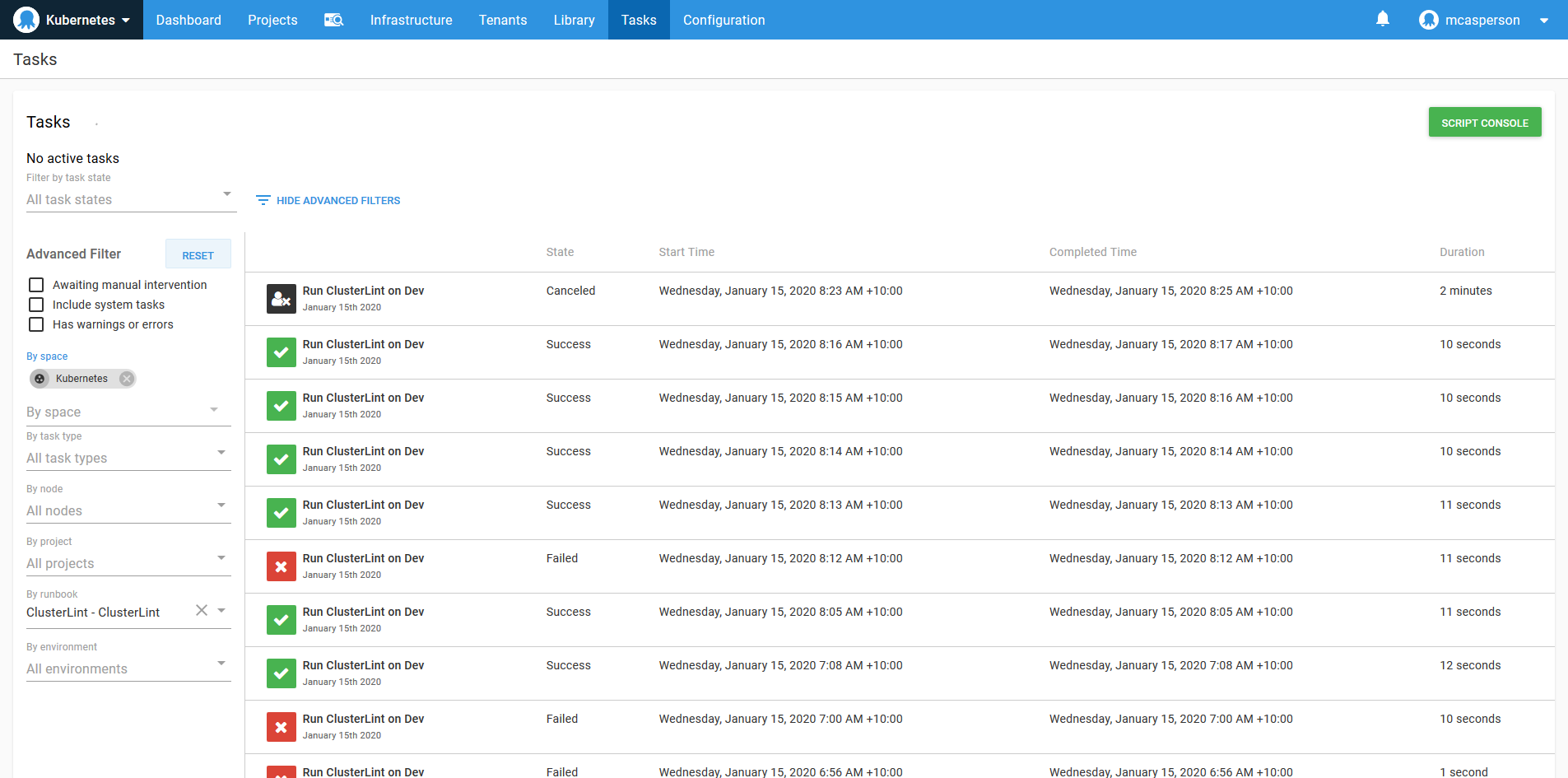 Octopus dashboard open on Tasks tab showing audit log