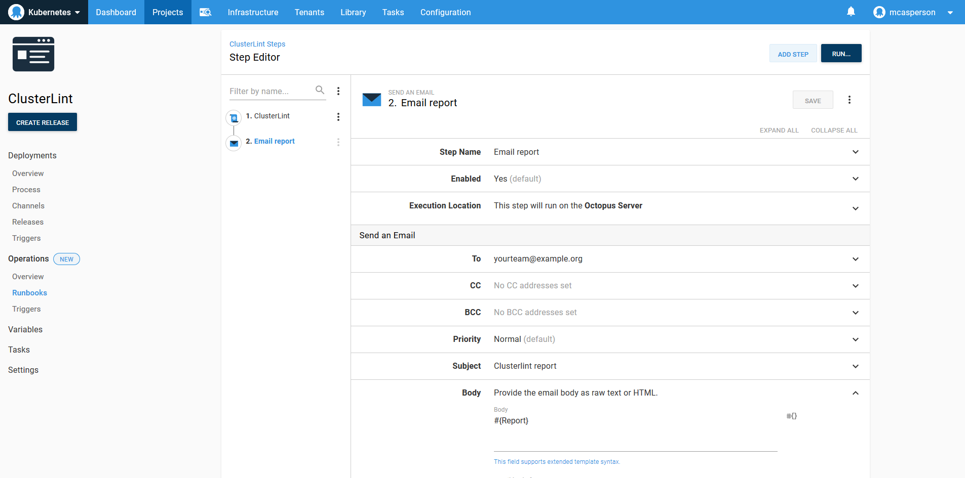 Octopus dashboard open on Projects tab and Operations Runbooks page showing Email report