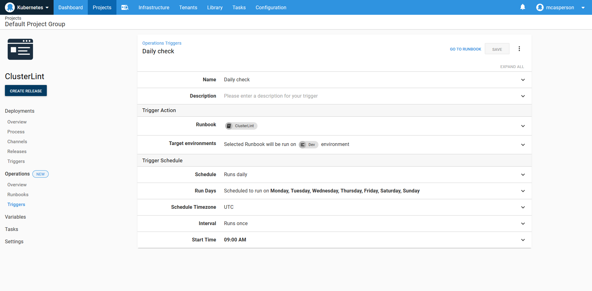 Octopus dashboard open on Projects tab and Operations Triggers page showing Daily check