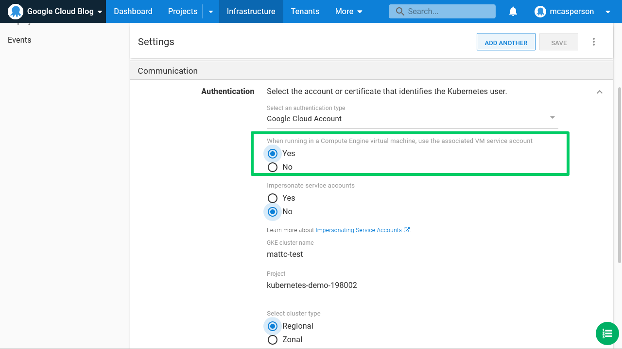 Octopus dashboard open on Infrastructure tab and Settings page showing Authentication for Google Cloud Account