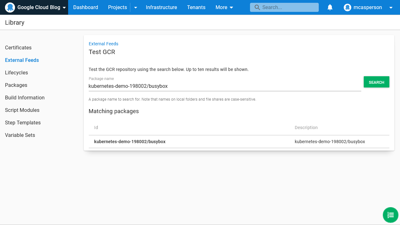 Octopus dashboard open on Library page showing External Feeds Test GCR