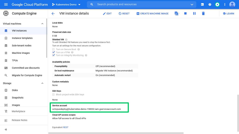 GCP dashboard showing VM instances