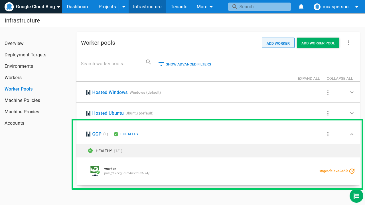Octopus dashboard open on Infrastructure tab and Worker Pools page showing GCP Worker Pool