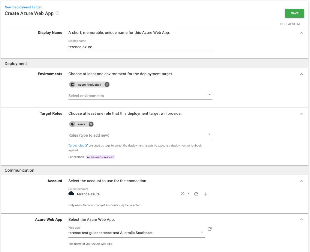 Azure Web App Settings