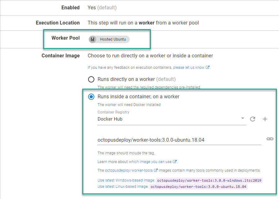 Octopus Cloud dashboard with Hosted Ubuntu Worker Pool and Docker Hub Container Registry selected.