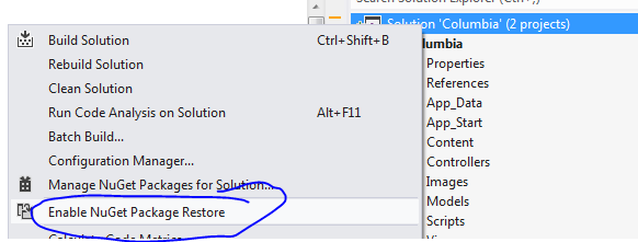 Enable NuGet package restore