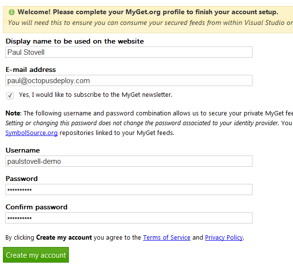 MyGet signup