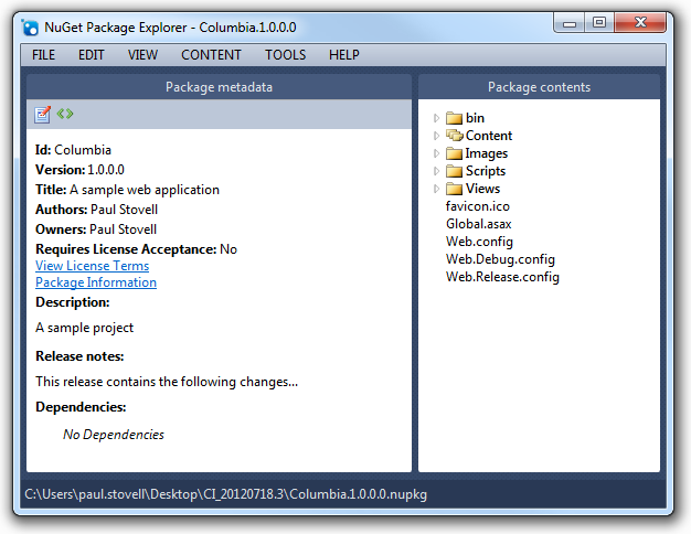 NuGet package explorer contents
