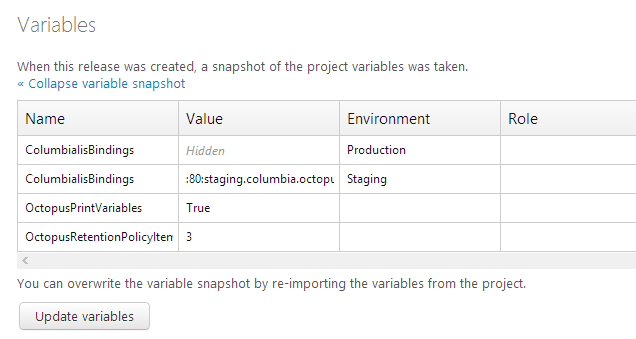 Updating Octopus release variables