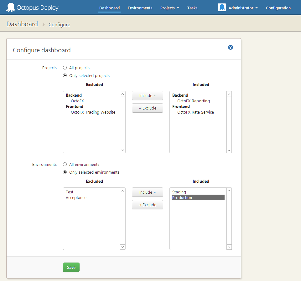 Configuring your dashboard