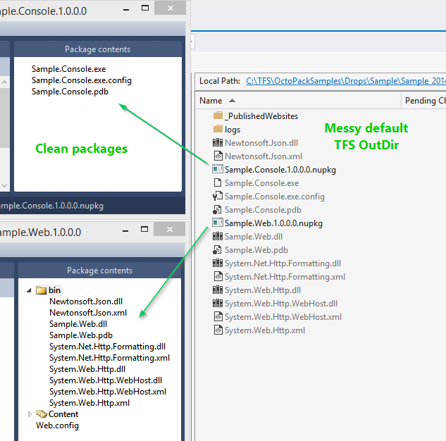 Messy TFS drop folder, but clean NuGet packages
