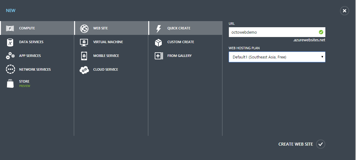 Create New Azure Web Site