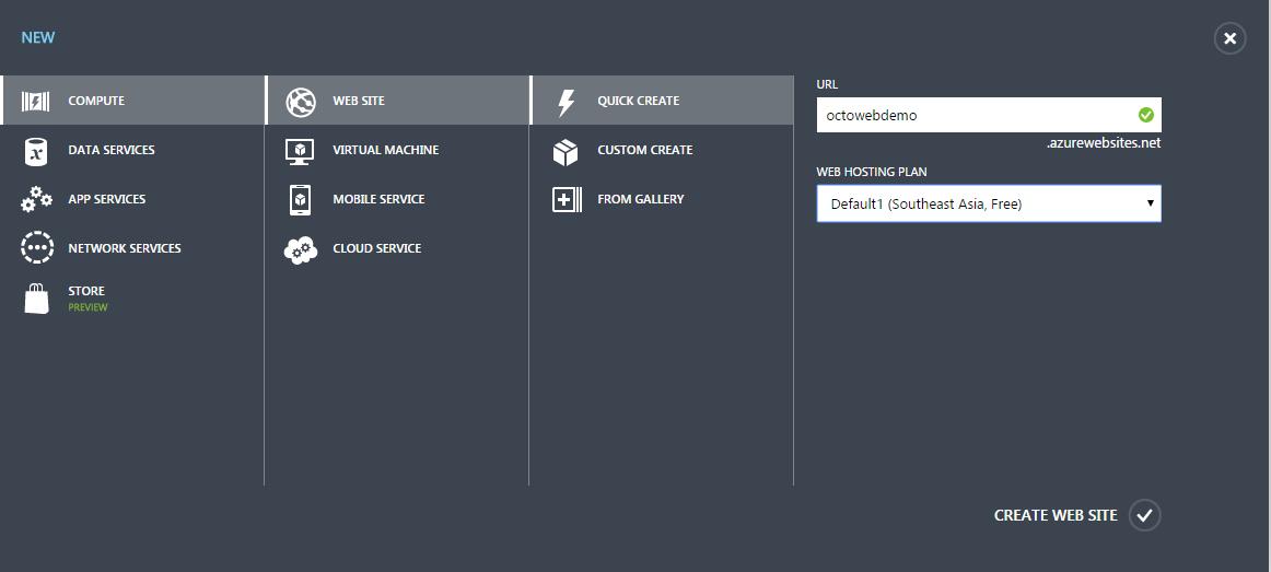 Create New Azure Web Site
