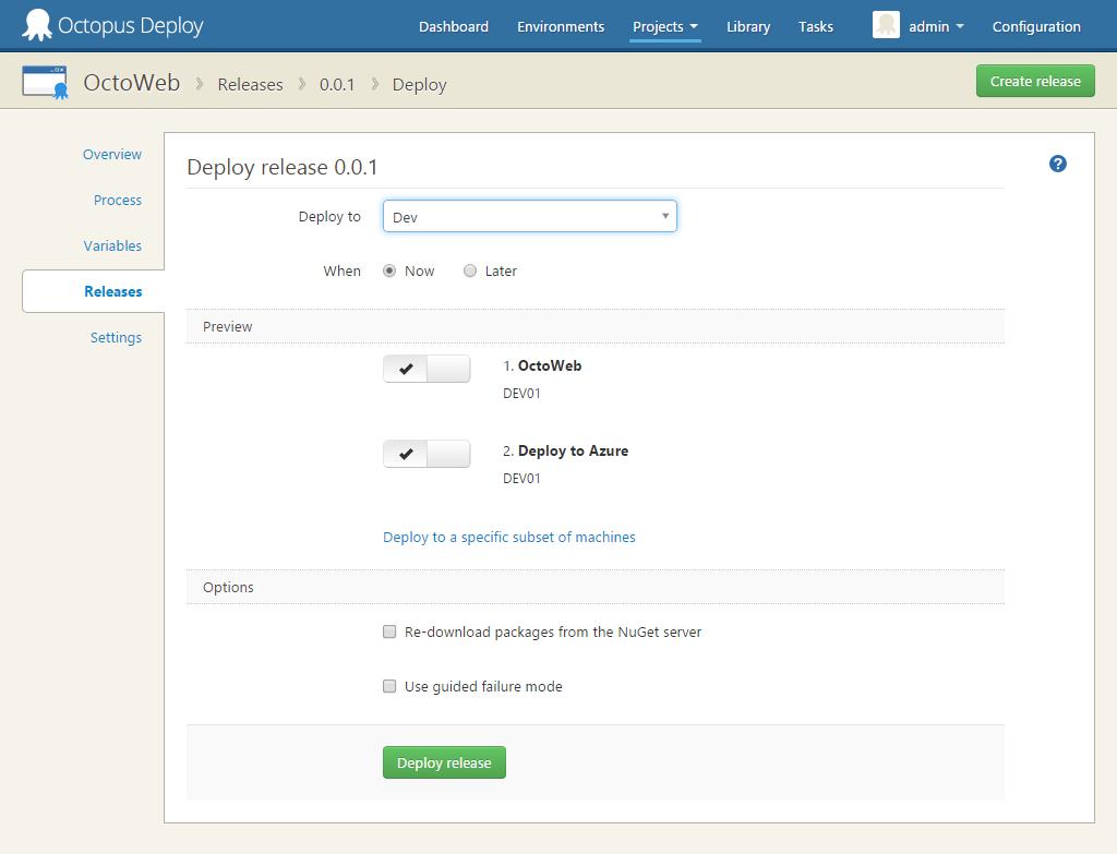 Deploy Release to Dev details
